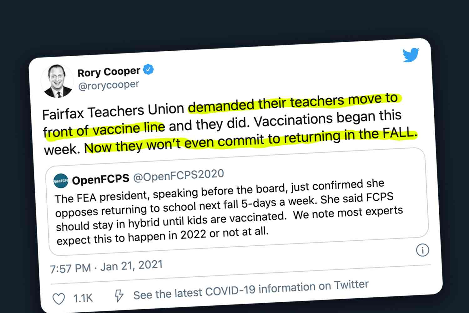 Teachers Union Refuses to Teach In-Person Unless They Can Jump the Vaccination Line. But When They Get What They Want, They Move the Goalposts.